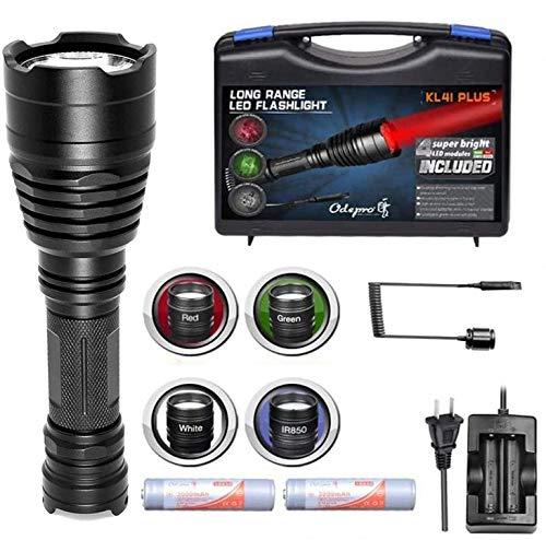 Odepro KL41 PLUS LED Taschenlampe für Jagd mit Rotlicht Grünlicht Weißlicht IR850 Licht und Kabelfernbedienung
