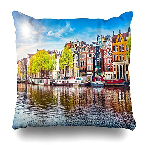 Fodera per cuscino da tiro River Spring Amsterdam Paesi Bassi Case da ballo sul famoso canale naturale Città europea Nube Home Decor Fodera per cuscino Federa, 45X45 cm