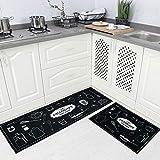 Carvapet 2 Piec Non-Slip Kitchen Rug TPR Non-Skid Backing Mat for Doorway Bathroom Runner Rug Set, Geometric Design (17'x48'+17'x24')
