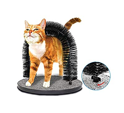 IONE Cat Arch Self Groomer and Massaging Brush,Cat Scratching Pads,Updated Fixing by Screws