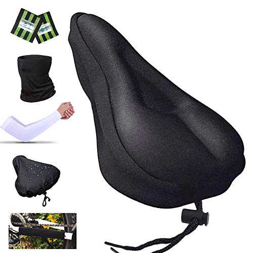 Karetto Bike Gel & Foam Seat Cover Excercise Bicycle Saddle Cover with Drawstring, Rain and Dust Resistant,Reflective Band Bandanas ,Soft Cover for Mountain, Road and Cruiser Bikes