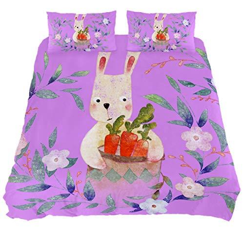 Audrey Brown Mattress Topper Bed Duvet Covers Summer Duvet Printed Duvet Cover Sheet Sets Size Winter Duvet Cover Cartoon rabbit carrot on purple backgroundv Full
