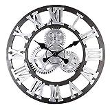 ENCOFT Reloj de pared vintage 3D sin marco, adhesivo de pared con esfera, moderno, vintage, metal, grandes relojes, salón, dormitorio (negro, 58 cm)