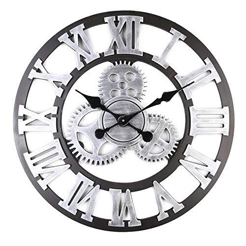 ENCOFT Reloj de pared vintage 3D sin marco, adhesivo de pared con esfera, moderno, vintage, metal, grandes relojes, salón o dormitorio (negro, 40 cm)