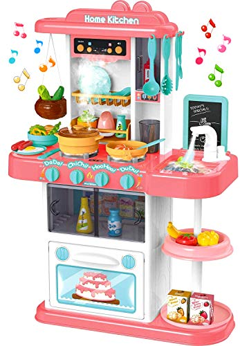 Little Brown Box Kids Pink Plastic Kitchen Playset Toy, Pretend Play, Cookware Set, Dishes, Food & Accessories w/ Sink, Realistic Steam, Lights & Music - Gift for Toddler, Childern, Girls 3,4,5 Years