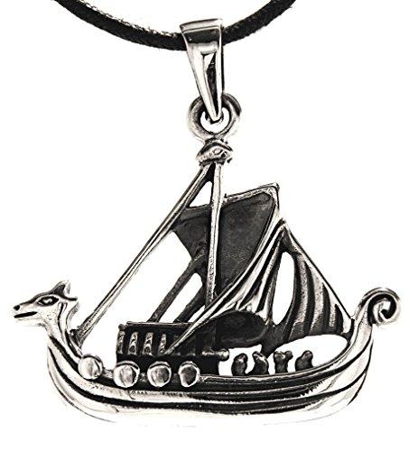 Kiss of Leather Wikinger Schiff Anhänger aus 925 Sterling Silber mit Baumwollband