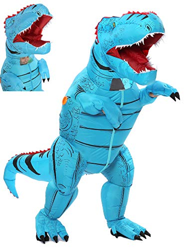 FUNNY COSTUMES Adult Size T Rex Costume Inflatable Dinosaur Costume Halloween Costume (Dino Blue...