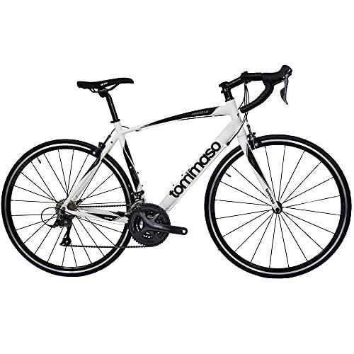 Tommaso Forcella Endurance Aluminum Road Bike, Carbon Fork, Shimano Claris R2000, 24 Speeds, Aero Wheels - Matte White - Small