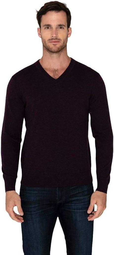 Raffi Men's Classic Pullover V-Neck Sweater 100% Extra Fine Merino Wool