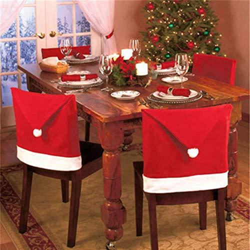 Ganeric - Juego de 4 fundas para sillas de Papá Noel, diseño de Papá Noel, color rojo
