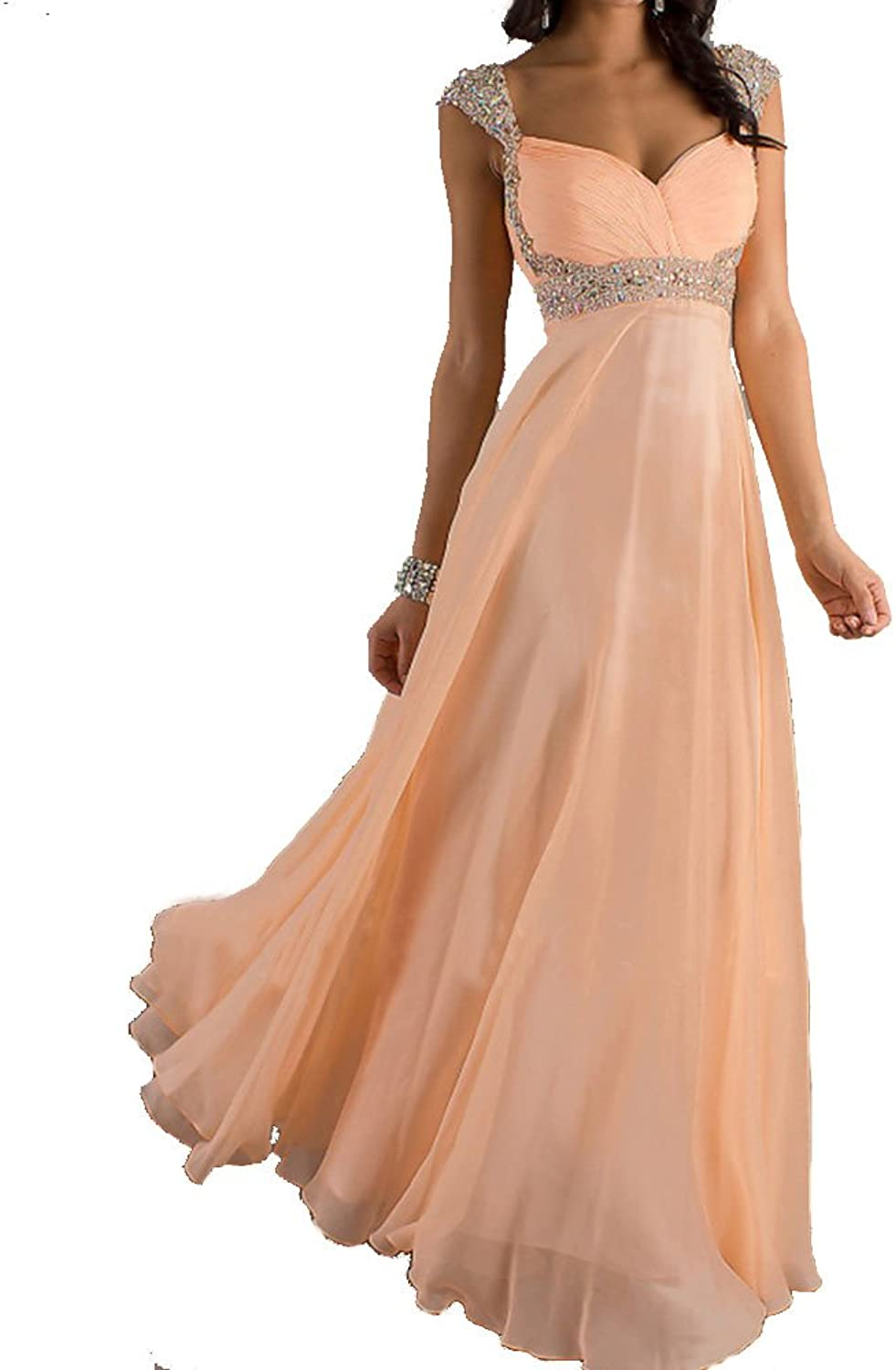 Kissprom Peach Cap Sleeves Long Prom Dresses Graduation Party Dresses with Empire Waist for Women