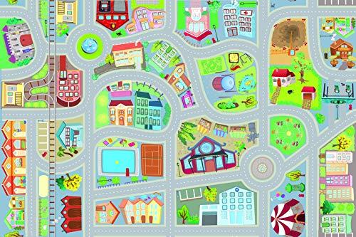 ACHOKA - Alfombra de juegos con coche ultrafina en el tema de la ciudad para niños – Niñas y niños – Poliéster resistente – 69.100 cm – Alfombra de juegos – Coche retroacción.