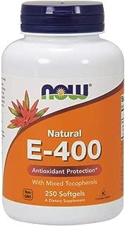 NOW E-400 Vitamin E-400 IU MT Softgels with Mixed Tocopherols, 250 Softgels
