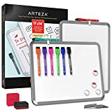 Arteza Framed Magnetic Whiteboard Set, 11x14 inches, 2-Pack Dry Erase Lap Boards with Markers & Magnets, Office Supplies for School, Home, Office, Planning, Brainstorming, Projects