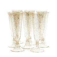 matana 50 pezzi flute da champagne in plastica trasparente con glitter dorati, bicchieri da prosecco, 150ml - riutilizzabile e resistente.