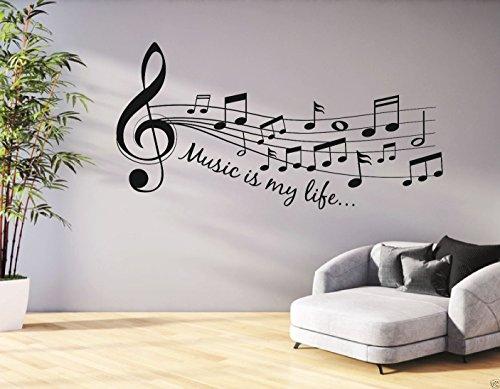 tjapalo® a-pkm46-S Flur Deko Wandspruch Wandtattoo Wohnzimmer Wandtatoo Noten Spruch Musik ist mein Leben Wandtattoo englisch Musik is my Life (B150 X H58cm)