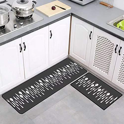 THDFV 2 Stück rutschfeste Küchenmatten Und Teppiche Runner-Set, Küchen-Teppiche Set, Gummi-Träger Langlebiger Bodenmatte, Fußmatch-Maschinenwaschbar E-40X60/120cm
