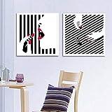 ZHJJD Pintalabios Maquillaje Lienzo Carteles Moderno Negro Blanco Impresión de Arte Pintura Moda Arte de la Pared Dormitorio Moderno Decoración del hogar Imágenes 50x50cmx2 Sin Marco