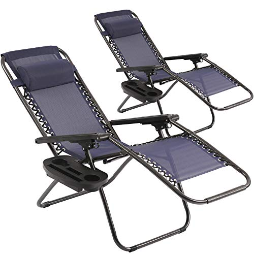 Zero Gravity Chair, Patio Chairs Set of 2 Outdoor Chairs Folding Chairs Outdoor Anti Gravity Chair Lounge Reclining Camping Deck Chair with Pillow and Cup Holder (Blue)