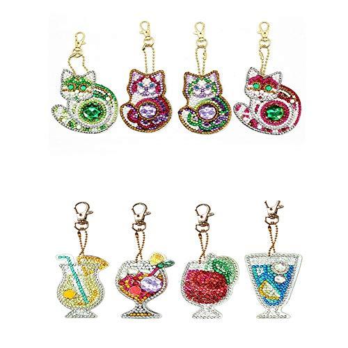 Jestang DIY Schlüsselanhänger-Set, Diamant-Malerei-Set für Erwachsene, Kinder, Taschenzubehör, Anhänger, Schultertasche, Saft, Getränke und Katzen, 8 Stück