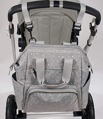 Walking Mum. Mochila Dreamer. Bolsa pañalera para silla de paseo. Diseño versátil con asas cortas y correas para llevar en los hombros. Color gris. Medidas 40X36X20 cm.