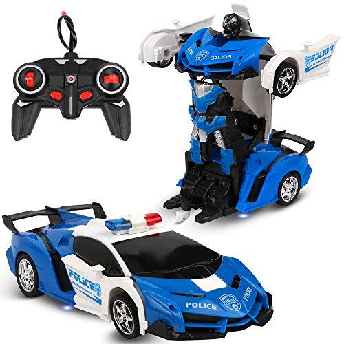 Vivibel Ferngesteuertes Auto RC Transformator Roboter Auto 360 °Drehung Bremsungs wiederaufladbares Kinder...