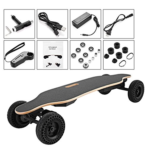 Leoneva 37' Electric Skateboard with Replaceable Off-road Wheels, Motorized Electric Longboard with...