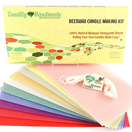 Make Your Own Beeswax Candle Kit - Includes 10 Assorted Colored 100% Beeswax Honeycomb Sheets and Approx. 6 Yards (18 Feet) of Cotton Wick - Each Sheet Measures Approx. 8' x 16 1/4.