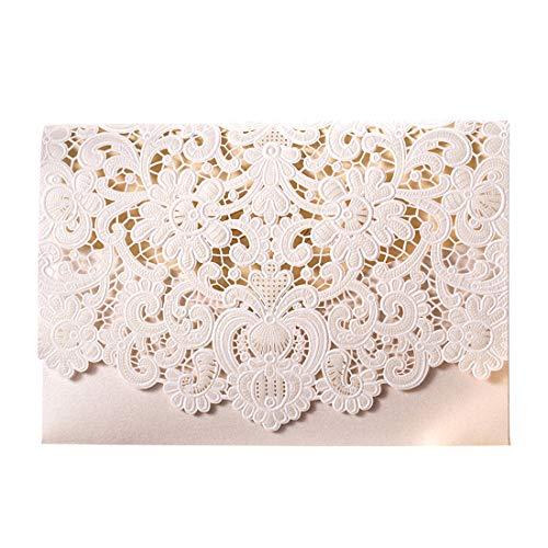 Wishmade Hochzeitseinladungskarten Weiß Blumen Lasercut Spitze Design zum Selbstbedrucken Blanko Set 20 Stücke inkl Umschläge