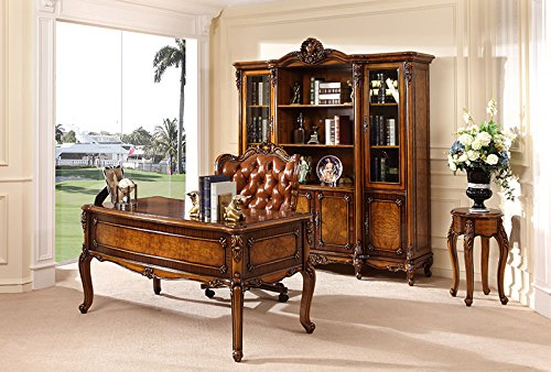 Ma Xiaoying Ma Xiaoying Büroschrank und Schreibtisch und Stuhl, Antik-Möbel, Massivholz Buche geschnitzt, europäischer klassischer Stil, Braun