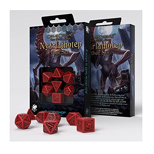 Kit com 7 dados para RPG D&D temáticos Call OF Cthulhu The Outer Gods Nyarlathotep - Q-Workshop
