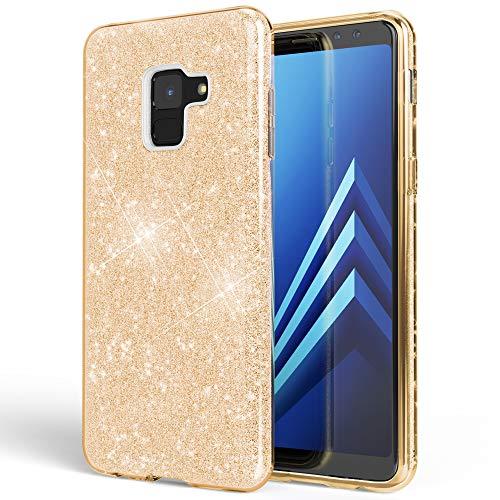 NALIA Hülle kompatibel mit Samsung Galaxy A8 (2018) Glitzer Handyhülle Ultra-Slim Silikon Hülle Back-Cover Schutzhülle, Glitter Handy-Tasche Bumper, Dünnes Bling Phone Etui, Farbe:Gold
