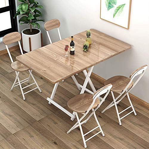 QNN Desk,Folding Tables and Chairs (1 Table + 4 Chairs), Rectangular Home Dining Table and Chairs, Portable Outdoor Picnic Table/Stall Table,C