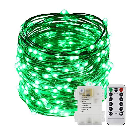 ErChen Battery Operated 40 FT 240 Led Fairy Lights, Remote Control 8 Modes Dimmable Waterproof Copper Wire LED String Lights with Timer for Indoor Outdoor Garden Patio Christmas (Green)