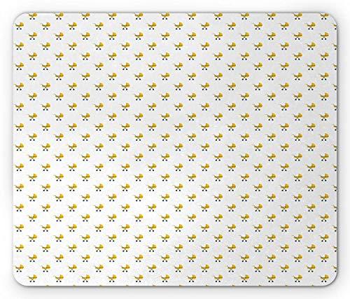 Mauspad Grau Gelb Moderne Kinderwagen Repetitive Nursery Theme Illustration Gelb Blau Grau 25X30Cm Gummi Spiel Rutschfest Gedruckt Komfortable Personalisierte Mausmatte Angepasste