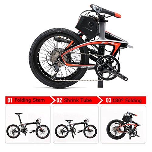 ROCKBROS SAVA Vélo Électrique Pliant 20 Pouces E-Vélo Cadre Carbone 200W 36V 8,5Ah Shimano MT200 Sora 9 Vitesses Jusqu'à 25km/h