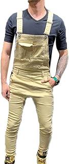 Huateng Mens Denim Stonewash Dungarees Work Vintage Overalls Bib Jeans Dungaree King Size Overalls