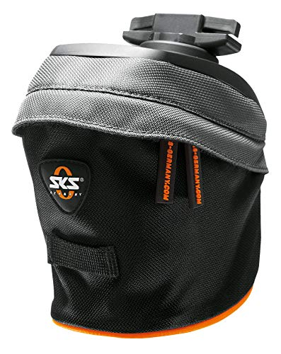 SKS GERMANY Race Bag S Fahrradtasche, Fahrradzubehör (Tasche aus wasserabweisendem Gewebe, mit praktischer Rücklichthalterung, Sattel-Befestigung, Volumen: 800 ml, Gewicht: 150 g), Schwarz-Grau