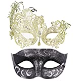 Thmyo Pack de 2 máscaras de Disfraces venecianas para Parejas, Mardi Gras Halloween Ball Mask (Plata Antigua Negra y Dorada)