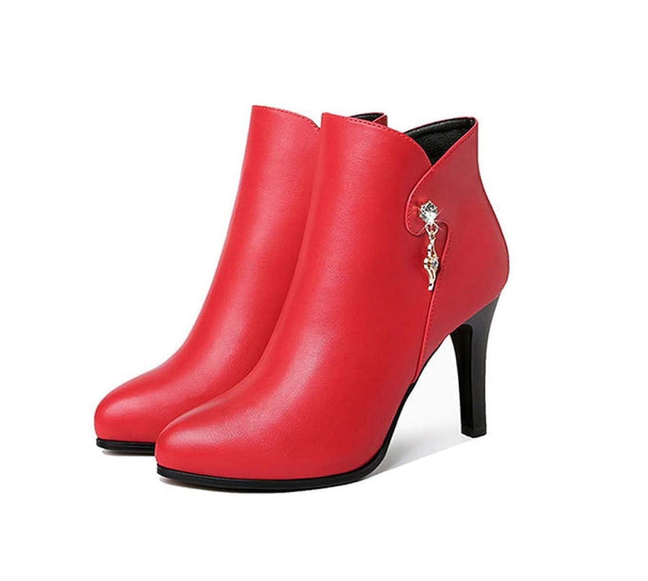 簡単に暴徒定常女性用ブーツハイヒールジッパーアンクルブーツ2018年ファッションレディースブーティー秋冬用ブラックレッド
