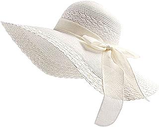 Lubier, cappello elegante di paglia con visiera da donna, da spiaggia, cappello da sole, da donna, 1 pezzo bianco White 22.05-22.83 inches