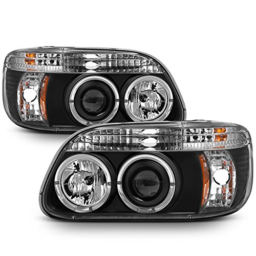 For Ford Explorer Black Bezel Dual Halo Ring LED 1pc Design Projector Headlights Front Lamps Replacement