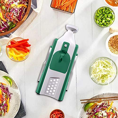 OLOPE Vegetable Cutting Artifact Almighty Multifunctional Shredded Cut Flowers,Vegetable Slicer, Cutter, Shredder with Precise Maximum Adjustability (Green)