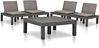 vidaXL Juego de Muebles de Jardín 5 Piezas Conjunto de Sillas Asientos Tumbona con Mesa Mesilla Cojín Comedor Exterior Terraza Plástico Gris Antracita