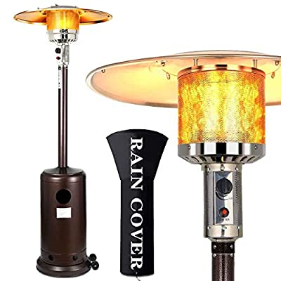 hmercy Outdoor Heater Patio Heaters - Propane Outdoor Heater 48000BTU, Tall Standing Gardens Heater with Wheels Portable Commercial Outdoor Heater