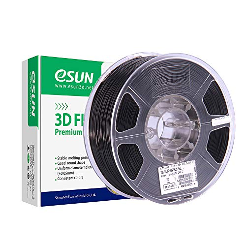 eSUN Filamento ABS Plus 1.75mm, Stampante 3D Filamento ABS+, Precisione Dimensionale +/- 0.05mm, Bobina da 1KG (2.2 LBS) Materiali di Stampa 3D per Stampante 3D, Nero