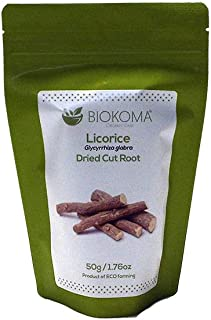 100% Pure and Natural Biokoma Licorice Dried Cut Root 50g (1.76oz) in Resealable Moisture Proof Pouch