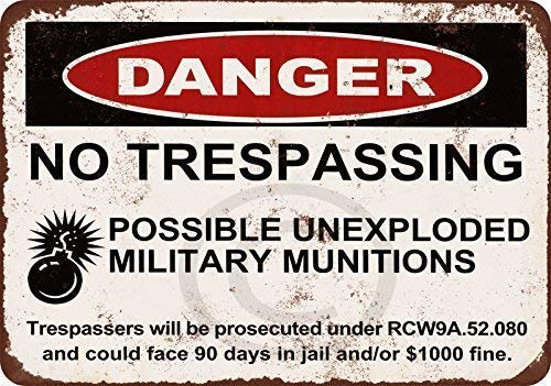 MAIYUAN Danger No Trespassing Possible Unexploded Military Munitions Vintage Aluminum Metal Signs for Wall Decor 8x12 Inches