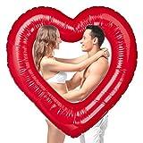 Relaxdays, rot Herz Schwimmring, aufblasbarer Badering in Herzform, für Hochzeit & Valentinstag,...