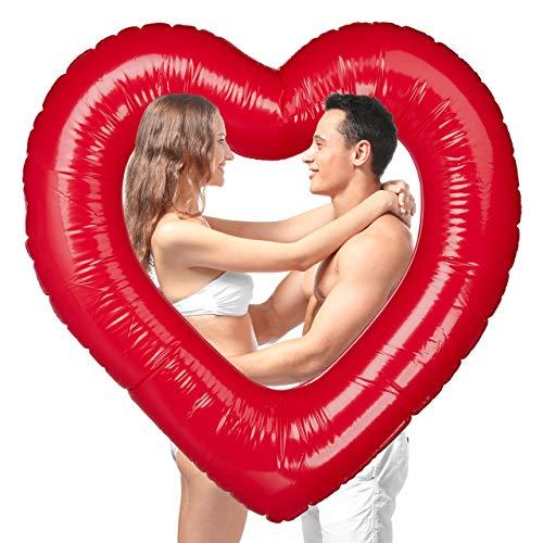 Relaxdays Herz Schwimmring, aufblasbarer Badering in Herzform, für Hochzeit & Valentinstag, als Deko oder Geschenk, rot